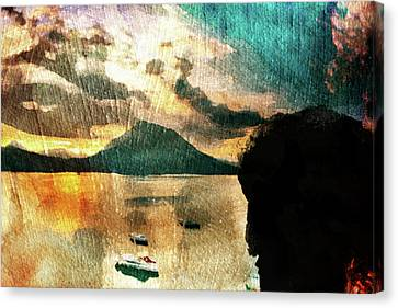 Canvas Print featuring the digital art Sunset And Fear by Andrea Barbieri