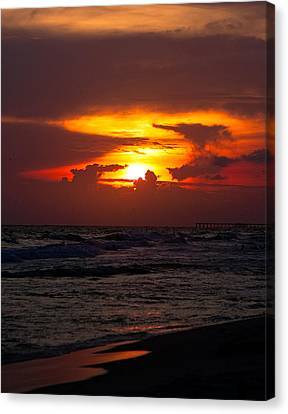 Canvas Print featuring the photograph Sunset by Anna Rumiantseva