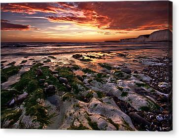 Sunset At Birling Gap Canvas Print by Mark Leader