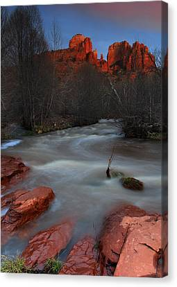 Sunset At Cathedral Rock Canvas Print by Dave Sribnik