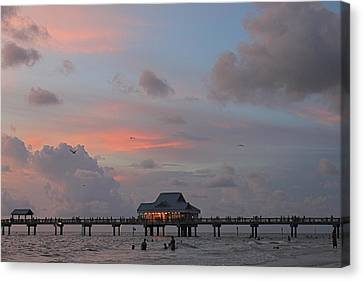 Sunset At Clearwater Beach Canvas Print by Jeanne Kay Juhos
