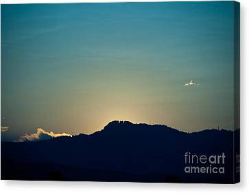 Sunset At Horsetooth Rock Canvas Print by Harry Strharsky