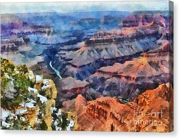 Sunset At Mohave Point At The Grand Canyon Canvas Print by Mary Warner