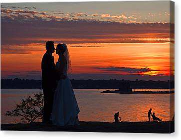 Sunset At Night A Wedding Delight Canvas Print