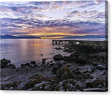 Sunset At Portencross Jetty Canvas Print