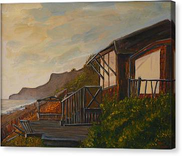 Canvas Print featuring the painting Sunset At The Beach House by Terry Taylor