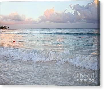 Sunset At The Beach Yucatan Peninsula Mexico Canvas Print