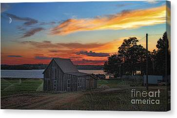 Canvas Print featuring the photograph Sunset At The Bog by Gina Cormier
