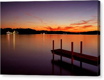 Canvas Print featuring the photograph Sunset At The Dock by Michelle Joseph-Long