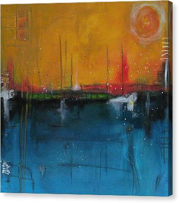 Canvas Print featuring the painting Sunset At The Lake  # 1 by Nicole Nadeau