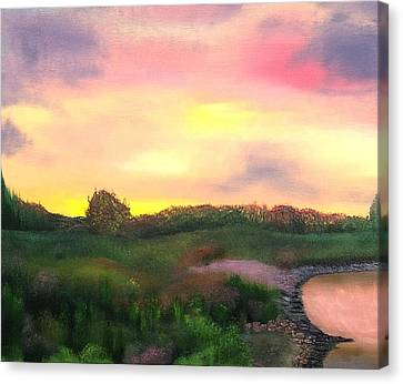Sunset At The Lake Canvas Print by Amity Traylor
