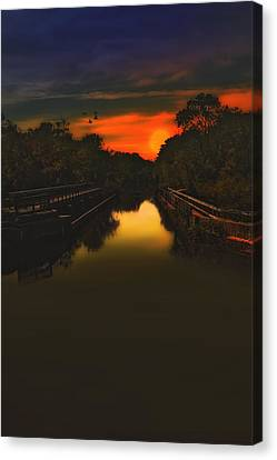 Sunset At The Old Canal Canvas Print by Tom York Images