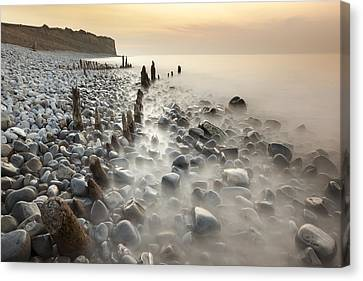 Sunset At The Remains Of Lilstock Pier Canvas Print by Nick Cable