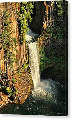 Sunset At Toketee Falls Canvas Print by Winston Rockwell