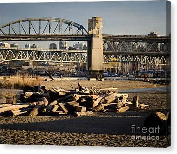 Sunset Beach Burrard Bridge Granville Island Vancouver Bc Canada Canvas Print