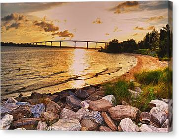 Canvas Print featuring the photograph Sunset Bridge by Kelly Reber