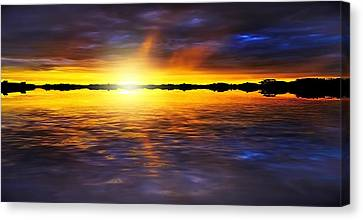 Sunset By The River Canvas Print by Svetlana Sewell