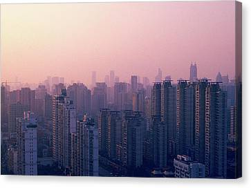 Sunset City Pink Canvas Print by Min Wei Photography