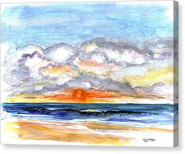 Canvas Print featuring the painting Sunset Clouds by Clara Sue Beym
