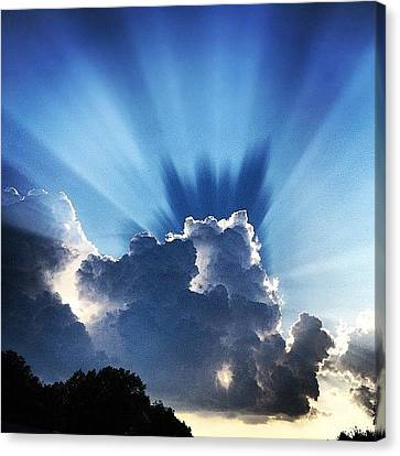 Light Canvas Print - #sunset #clouds #weather #rays #light by Amber Flowers