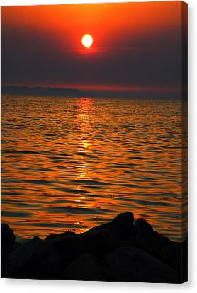 Canvas Print featuring the photograph Sunset by Colette V Hera  Guggenheim