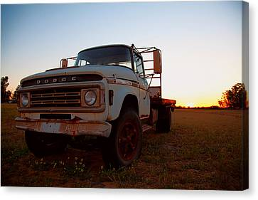 Canvas Print featuring the digital art Sunset Dodge by Serene Maisey