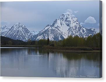 Sunset Grand Tetons Canvas Print by Charles Warren