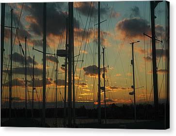 Sunset Harbor Canvas Print by Rafael Figueroa