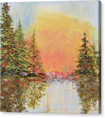 Canvas Print featuring the painting Sunset Horizon by Vic  Mastis