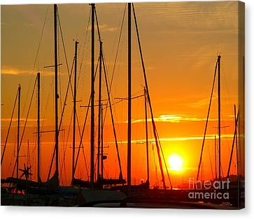 Sunset In A Harbour Digital Photo Painting Canvas Print