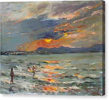 Athens Canvas Print - Sunset In Aegean Sea by Ylli Haruni