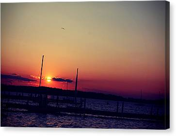 Sunset In Lake Mendota Canvas Print by Xiaoting Kuang