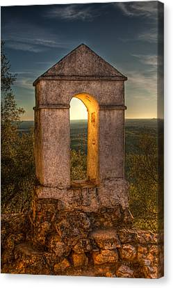 Sunset In Monfrague Castle Canvas Print