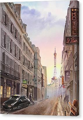 Sunset In Paris Canvas Print by Irina Sztukowski