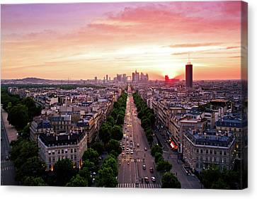 Sunset In Paris Canvas Print by Pink Pixel Photography