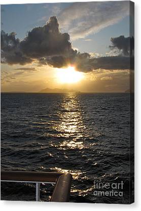 Sunset In The Black Sea Canvas Print by Phyllis Kaltenbach