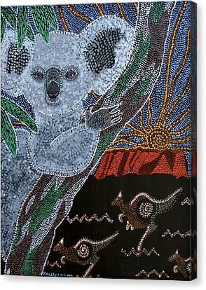 Sunset Koala And Kangaroo Canvas Print