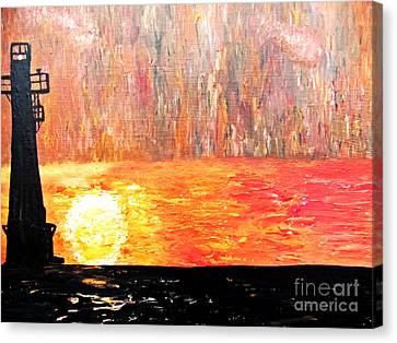 Canvas Print featuring the painting Sunset Lighthouse by Ayasha Loya