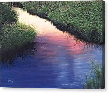 Canvas Print featuring the painting Sunset Marsh Series by Cindy Lee Longhini