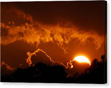 Sunset On Fire Canvas Print by Kathi Isserman