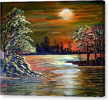 Canvas Print featuring the painting Sunset On Lake Windsor by Fram Cama