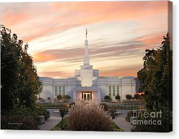 Sunset On Lds Montreal Temple Canvas Print