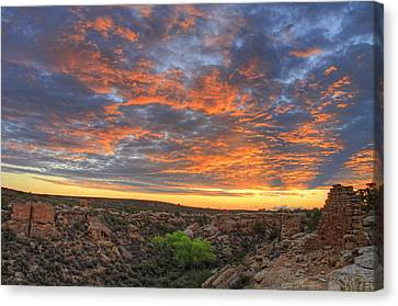 Sunset On Puebloan Ruins In Hovenweep Canvas Print by Matt Champlin