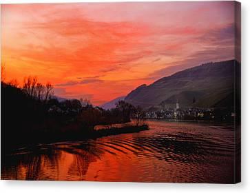 Sunset On Rhine Canvas Print