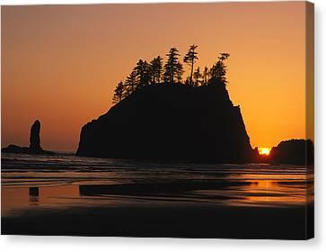 Sunset On Second Beach Canvas Print by Phil Schermeister