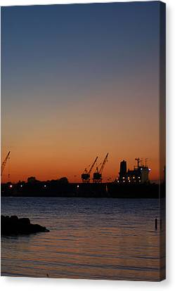 Sunset On The Detroit River 2 Canvas Print