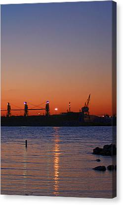 Sunset On The Detroit River Canvas Print