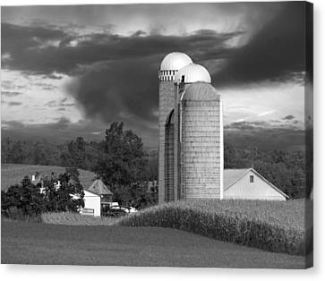 Canvas Print featuring the photograph Sunset On The Farm Bw by David Dehner