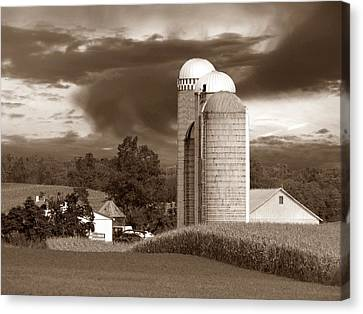 Sunset On The Farm S Canvas Print by David Dehner