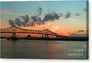 Sunset On The Mississippi  Canvas Print by Lydia Holly